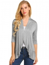 Light gray Women Casual Open Front Flounce Hem Three Quarter Sleeves Cardigan