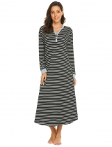 Black white Women Casual Stripe V Neck Long Sleeve Nightdress Sleepwear