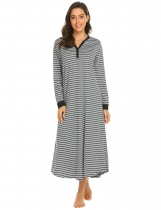 Gray white Women Casual Stripe V Neck Long Sleeve Nightdress Sleepwear