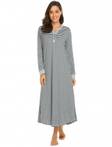 Gray Black Women Casual Stripe V Neck Long Sleeve Nightdress Sleepwear