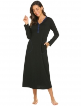 Black Women Casual Solid V Neck Long Sleeve with Two Pockets Nightdress Sleepwear
