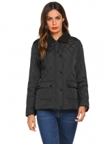 Black Women Casual Lightweight Padded Button Quilted Jacket Coat Top