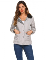Grey Women Casual Lightweight Padded Button Quilted Jacket Coat Top