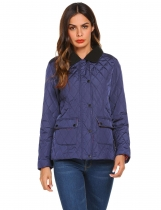 Navy blue Women Casual Lightweight Padded Button Quilted Jacket Coat Top