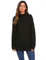Black Women Fashion Casual Solid Turtle Neck Long Sleeve Sweater Tops