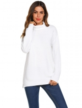 White Women Fashion Casual Solid Turtle Neck Long Sleeve Sweater Tops