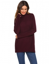 Wine red Women Fashion Casual Solid Turtle Neck Long Sleeve Sweater Tops