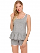 Grey Ekouaer Femmes Nightwear O cou à volants Hem Tank Top et Shorts Pyjama Set