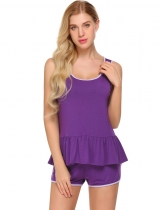 Purple Ekouaer Femmes Nightwear O cou à volants Hem Tank Top et Shorts Pyjama Set