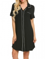 Black Ekouaer Women Summer V-Neck Open Front Button-up Panelled Nightdress
