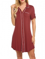 Wine red Ekouaer Women Summer V-Neck Open Front Button-up Panelled Nightdress