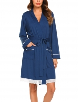 Navy blue Women Casual Lace Patchwork Sleepwear Robe With Waistband