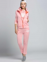 Pink Thicken Casual Sports Hoodie and Pants with Vest 3pcs Tracksuit