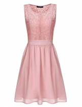 Pink Sheer Lace Sleeveless A-line Wedding Bridesmaid Dresses