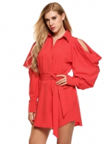 Red Cold Shoulder Turn Down Collar Loose Shift Dress