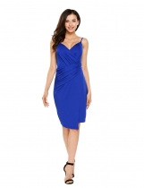 Blue Spaghetti Strap Ruched Package Hip Asymmetric Wrap Dress