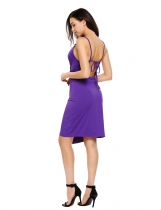 Purple Spaghetti Strap Ruched Package Hip Asymmetric Wrap Dress