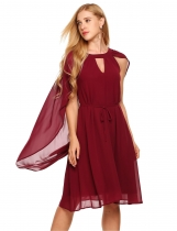 Wine red Sleeveless Chiffon Cloak Keyhole Loose Solid Dress