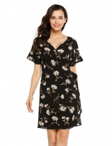 Black Short Ruffle Sleeve V-neck Floral Short A-line Dress