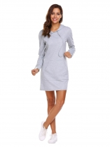 Gray Women Cut-off à manches longues capuche courtes Shift Loose Casual Mini