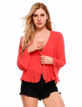 Red Long Sleeve Front Knot Split Slim Chiffon Blouse