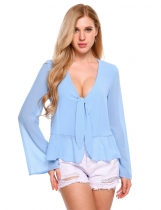 Baby Blue Long Sleeve Front Knot Split Slim Chiffon Blouse