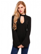Black Bell Sleeve Back Bow Tie Hollow Front Solid Blouse