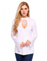 White Bell Sleeve Back Bow Tie Hollow Front Solid Blouse