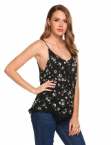 Black Floral Strap V-neck Loose Lace Trim Camisole
