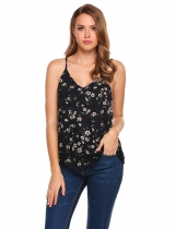 Navy blue Floral Strap V-neck Loose Lace Trim Camisole