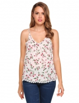 White Floral Strap V-neck Loose Lace Trim Camisole