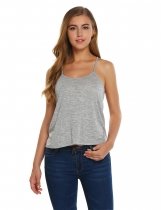 Light gray Spaghetti Strap Solid Loose Bottoming Sleeveless Camisole