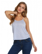 Mulheres Strap Solid Loose Camis Bottoming Casual Sports mangas Tops