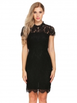 Black Mujeres de manga corta pie Collar Lace Mini lápiz vestido Floral Slim Fit Hollow Volver