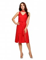 Red Choker Neck Split Hem Belted Sheath Dress