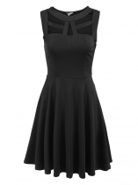 Black Sleeveless Cut Out Solid Slim Dress