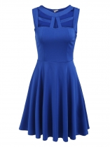Blue Sleeveless Cut Out Solid Slim Dress