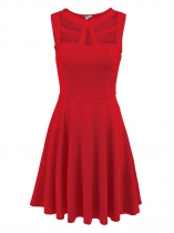 Red Sleeveless Cut Out Solid Slim Dress