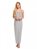 Gray Strap Loose Maxi Solid Beach Dress