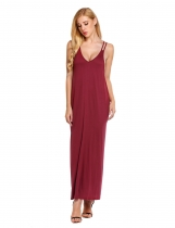 Red Strap Loose Maxi Solid Beach Dress