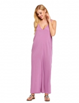 Purple Strap Loose Maxi Solid Beach Dress