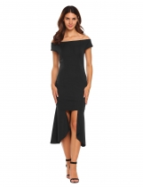 Black Off-shoulder Bodycon Asymmetric Split Dress