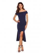 Navy blue Off-shoulder Bodycon Asymmetric Split Dress