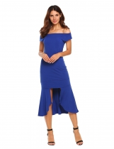 Blue Off-shoulder Bodycon Asymmetric Split Dress