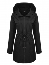 Black Long Sleeve Hooded Wind Coat