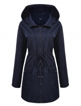 Dark blue Long Sleeve Hooded Wind Coat