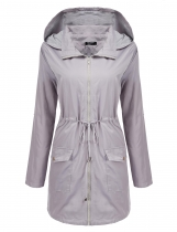 Light gray Long Sleeve Hooded Wind Coat