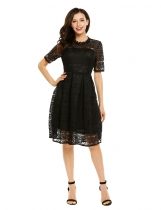 Black Short Sleeve Full Lace Knee Length Swing Dress