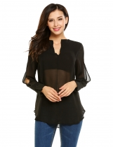 Black Solid Slit Cuff Sleeve V-neck Chiffon Loose Blouse