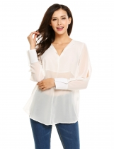 White Solid Slit Cuff Sleeve V-neck Chiffon Loose Blouse